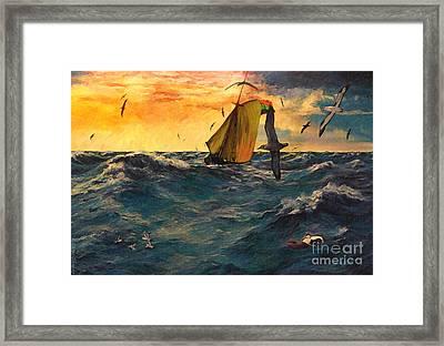 Peril At Sea Framed Print