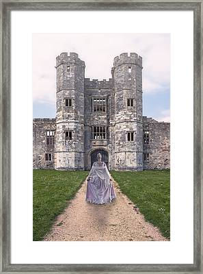 Period Lady In Front Of A Castle Framed Print