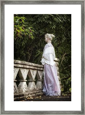 Period Lady On Bridge Framed Print