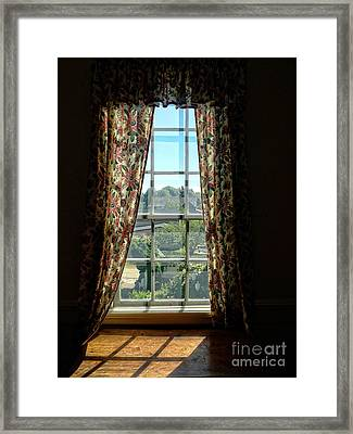 Period Window With Floral Curtains Framed Print