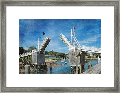 Perkins Cove Drawbridge Textured Framed Print