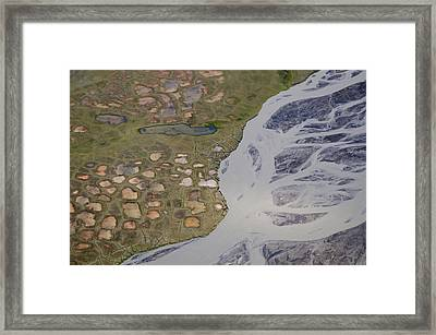 Permafrost Polygons And Braided River Framed Print
