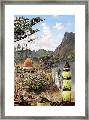 Permian Of Russia, Prehistoric Scene Framed Print by Science Photo Library