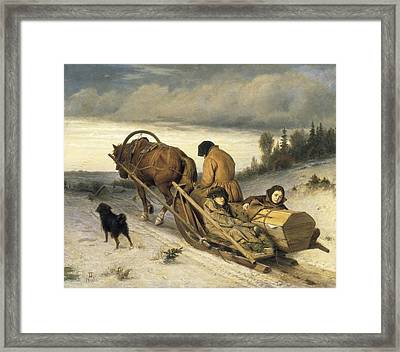 Perov, Vasily 1833-1882. Seeing-off Framed Print by Everett