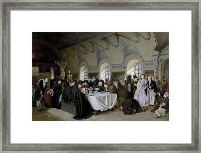 Perov, Vasily 1833-1882. The Refectory Framed Print by Everett