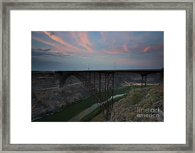 Perrine Bridge Sunset Framed Print by Mike  Dawson
