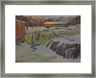 Framed Print featuring the painting Perrines Covered Bridge by Len Stomski