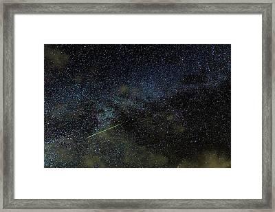 Perseid Meteor Track Over Hawaii Framed Print