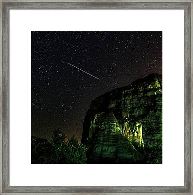 Perseid Meteor Track Over Meteora Framed Print by Babak Tafreshi