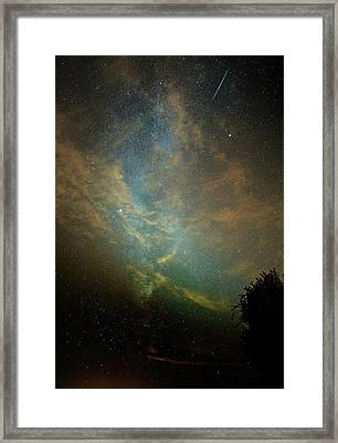 Perseid Meteor Trail In The Night Sky Framed Print by Chris Madeley