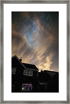 Perseid Meteor Trail Over Houses Framed Print by Chris Madeley