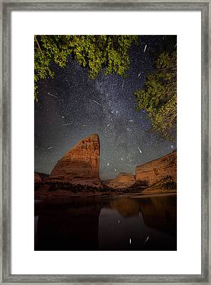 Perseids Meteor Shower Over Steamboat Rock Framed Print by Mike Berenson