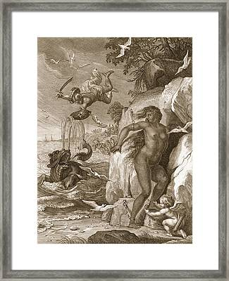 Perseus Delivers Andromeda From The Sea Framed Print by Bernard Picart