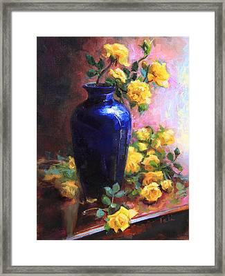 Persian Cobalt - Yellow Roses In Cobalt Vase Framed Print by Talya Johnson