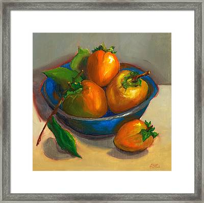 Persimmons In Blue Bowl Framed Print by Susan Thomas