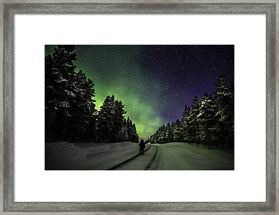 Person Enjoying The Aurora Borealis Or Framed Print by Panoramic Images
