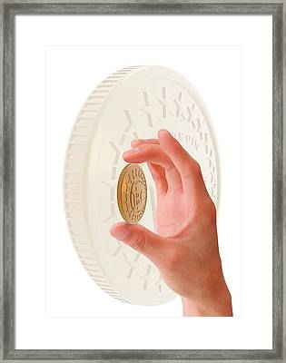 Person Holding Bitcoin Framed Print by Victor Habbick Visions