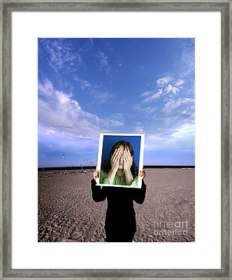 Person Holding Photo Framed Print