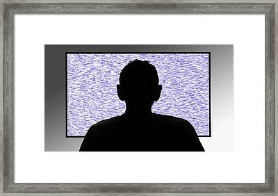 Person In Front Of Flickering Tv Screen Framed Print by Victor De Schwanberg/science Photo Library
