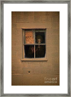 Person In Gas Mask Looking Out Window Framed Print
