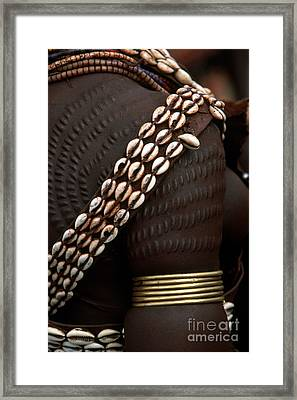Person Showing Cowry Shell Detail Framed Print by Art Wolfe