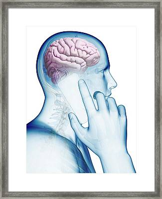 Person Using A Mobile Phone Framed Print