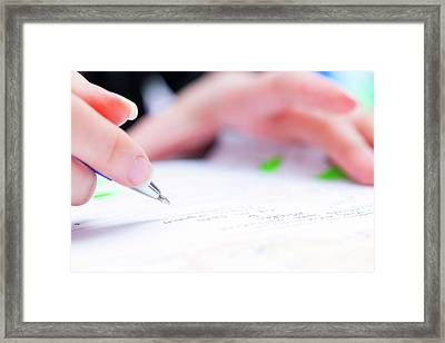 Person Using A Pen To Sign A Document Framed Print by Wladimir Bulgar