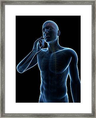 Person Using Cell Phone Framed Print by Sebastian Kaulitzki