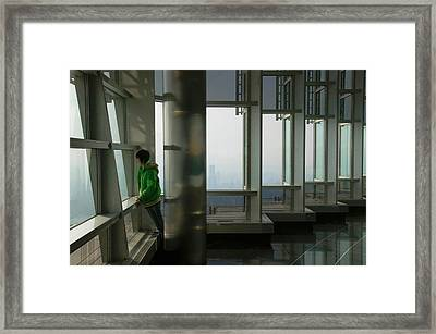 Person Viewing A City From Observation Framed Print