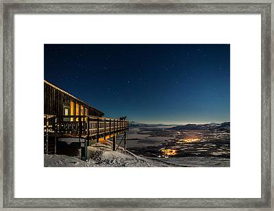 Person Viewing The Stars At The Abisko Framed Print by Panoramic Images