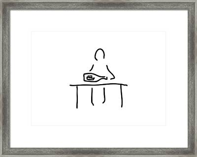 Person With Message In A Bottle Framed Print by Lineamentum