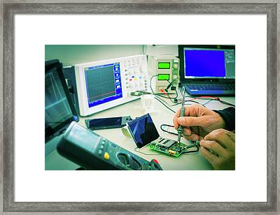 Person Working On Microprocessor Framed Print