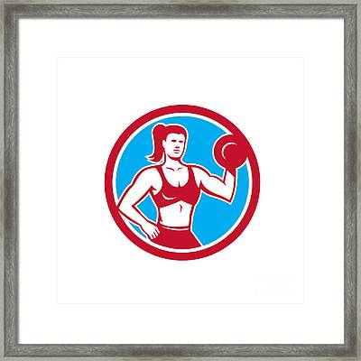 Personal Trainer Female Lifting Dumbbell Circle Framed Print