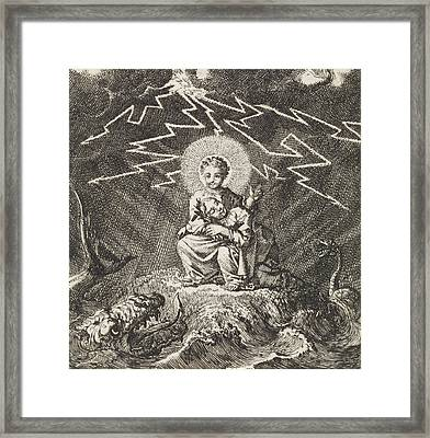 Personified Soul Asleep In Christs Lap During Storm Framed Print