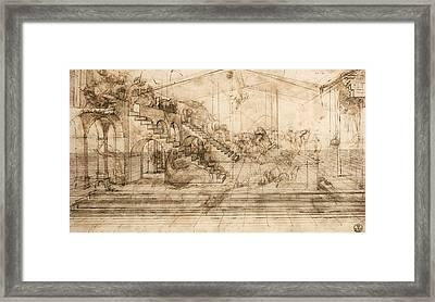 Perspectival Study Of The Adoration Of The Magi Framed Print by Leonardo da Vinci