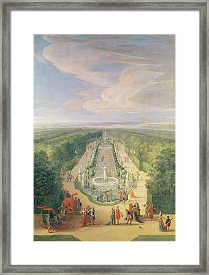 Perspective View Of The Grove From The Galerie Des Antiques At Versailles, 1688 Oil On Canvas Framed Print by Jean-Baptiste Martin