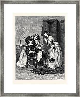 Persuading Papa, In The Exhibition At The Gallery 7 Framed Print by English School