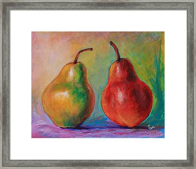 Persuasive Pear Framed Print by Eve  Wheeler