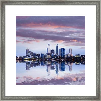 Perth Skyline Reflected In The Swan River Framed Print by Colin and Linda McKie