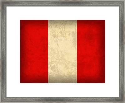 Peru Flag Vintage Distressed Finish Framed Print by Design Turnpike
