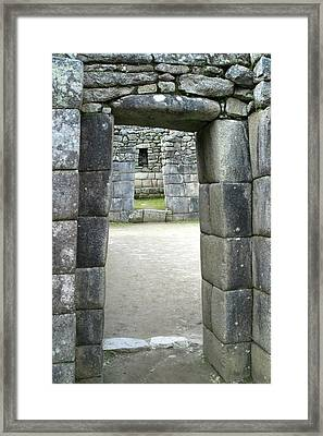 Peru, Machu Picchu Doorway Framed Print by John Ford