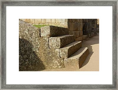 Peru, Machu Picchu, Four Stone Steps Framed Print by Jaynes Gallery