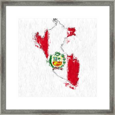 Peru Painted Flag Map Framed Print by Antony McAulay
