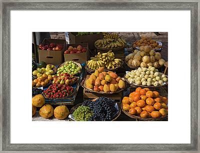 Peru, Pisac, Market Produce For Sale Framed Print by Jaynes Gallery
