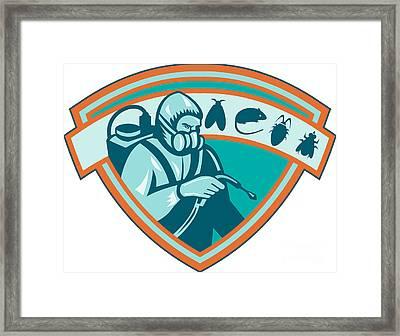 Pest Control Exterminator Worker Shield Framed Print by Aloysius Patrimonio