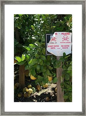 Pesticide Warning Sign Framed Print by Jim West
