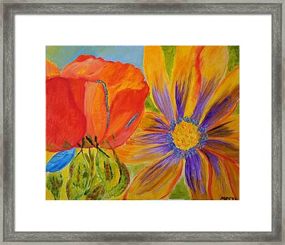 Framed Print featuring the painting Petals Up Close by Meryl Goudey