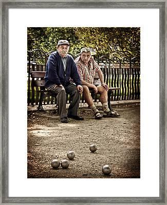 Framed Print featuring the photograph Petanque Match / Brive La Gaillarde by Barry O Carroll