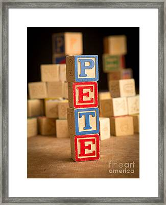 Pete - Alphabet Blocks Framed Print by Edward Fielding