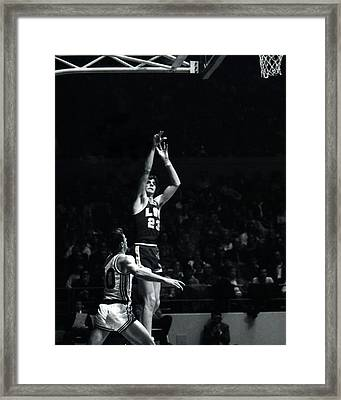 Pete Maravich Shooting From Distance Framed Print by Retro Images Archive
